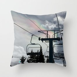 Ski Lift Rainbow Sky \\ The Mountain Sun Rays \\ Spring Skiing Colorado Winter Snow Sports Throw Pillow