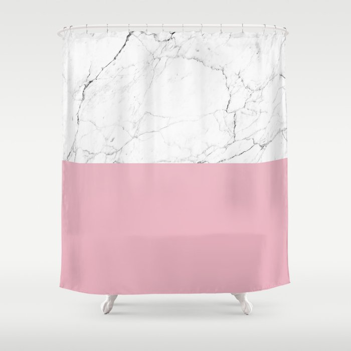 Blush Pink And White Marble Color Block Shower Curtain