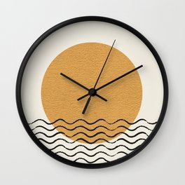 Ocean wave gold sunrise - mid century style Wall Clock