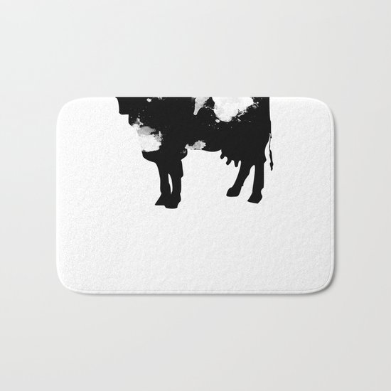 Cow Black and White brush paint splash Bath Mat