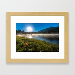 Morning Glory - Duck Swimming in Mountain Lake in Colorado Framed Art Print
