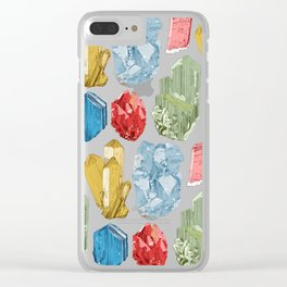 Crystals and Minerals Pattern Clear iPhone Case