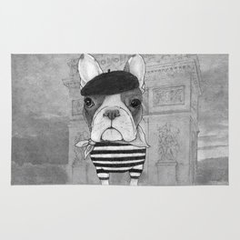 French Bulldog. (black and white version) Rug