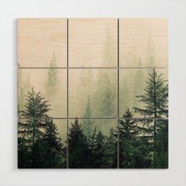 Foggy Pine Trees Wood Wall Art