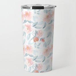 Soft Pink Watercolour Roses Travel Mug