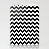 chevron Stationery Cards featuring Chevron (Black/White) by 10813 Apparel