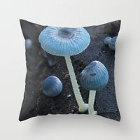 pixies Throw Pillows featuring Pixies Parasol (Mycena interrupta) by Clusterpod