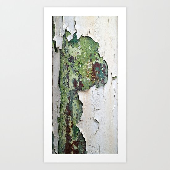 white green paint rust metal texture pattern Art Print