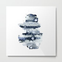 Indigo Abstract Watercolor Metal Print