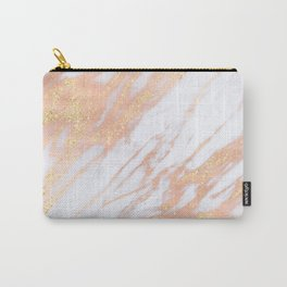 Marble - Rose Gold with Yellow Gold Glitter Shimmery Marble Carry-All Pouch