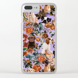 Dog and Floral Pattern Clear iPhone Case