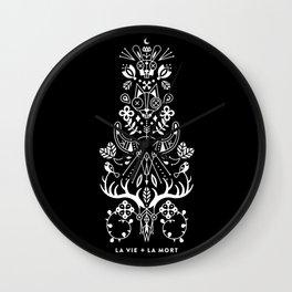 La Vie + La Mort: White Ink Wall Clock