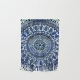 Vintage Blue Wash Mandala Wall Hanging