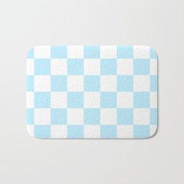 Checkered - White and Light Blue Bath Mat