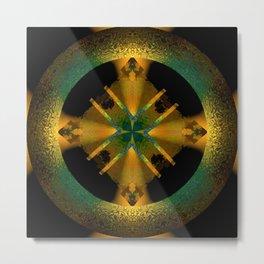 Spinning Wheel Hubcap in Gold Metal Print