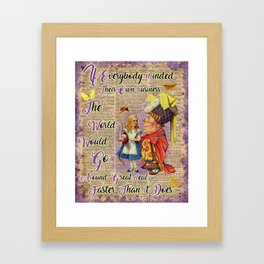 Alice with The Duchess Vintage Dictionary Art Framed Art Print