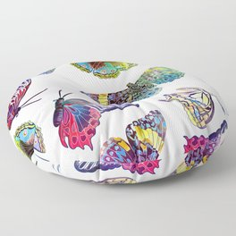 Butterfly Obsession in Blues Floor Pillow