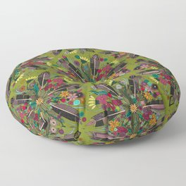 bohemian posy green Floor Pillow