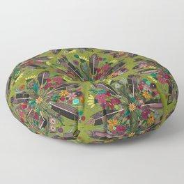 bohemian posy green Floor Pillow