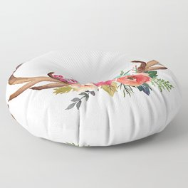 Floral Deer Antlers Floor Pillow