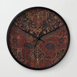 Boho Chic Dark VII // 17th Century Colorful Medallion Red Blue Green Brown Ornate Accent Rug Pattern Wall Clock