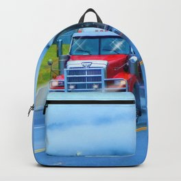 Driving Rain IV - Highway Truck in Rainstorm Artwork Backpack
