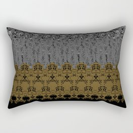 Damask Texture Border in Browns and Black Rectangular Pillow
