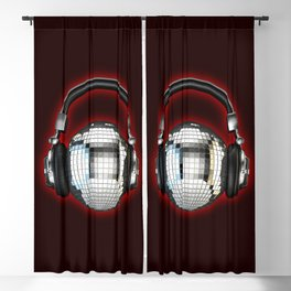 Headphone disco ball Blackout Curtain