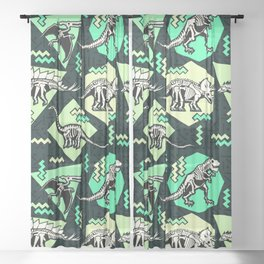 90's Dinosaur Skeleton Neon Pattern Sheer Curtain