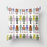 robots Throw Pillows featuring Robots by Annabelle Scott