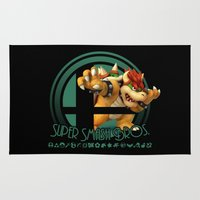 super smash bros Area & Throw Rugs featuring Bowser - Super Smash Bros. by Donkey Inferno
