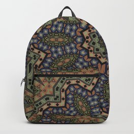 olive green ornament, kaleidoscope, mandala, ethnic pattern Backpack