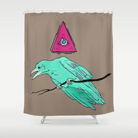 occult Shower Curtains featuring occult raven by Ewa Pacia