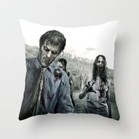 the walking dead Throw Pillows featuring Zombie by Joe Roberts