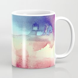 Tie-Dye Watercolor Blues, Greens, Pale Yellow, Dark Pinks Abstract Design Coffee Mug