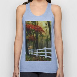 Fall scene with fence Unisex Tank Top