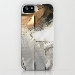 Too Soon | Collage Series 1 | mixed-media piece in gold, black and white + book pages iPhone Case