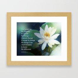Serenity Prayer Lotus One Framed Art Print