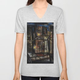 Classical African-American Masterpiece 'Harlem at Midnight' by Charles Alston Unisex V-Neck