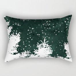 Pine snowflakes winter snow christmas green deep forest watercolor Rectangular Pillow