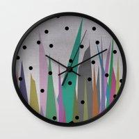 grass Wall Clocks featuring Grass by Olivia James