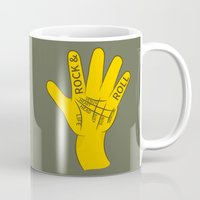 rock and roll Mugs featuring Palmistry Rock and Roll by mailboxdisco