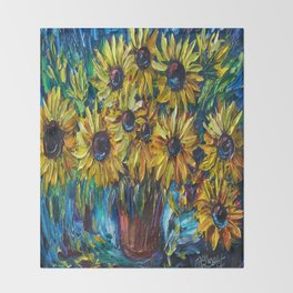 Sunflowers In A Vase Palette Knife Painting Throw Blanket