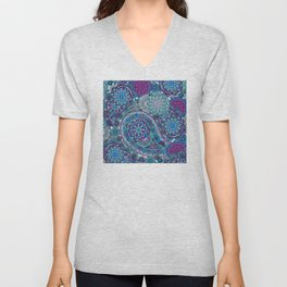 Paisley Patterns in Blues, Pinks, and Greens Unisex V-Neck