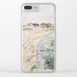 le pouliguen beach watercolor and ink painting Clear iPhone Case