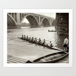 Vintage Black & WhitePhoto Female College Rowing Team Art Print