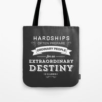 pocketfuel Tote Bags featuring CS Lewis - Extraordinary by Pocket Fuel