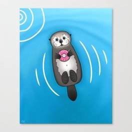 Sea Otter with Donut - Cute Otter Holding Doughnut Canvas Print