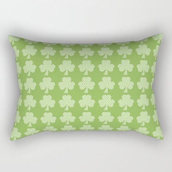 Greenery Shamrock Clover Polka dots St. Patrick's Day Rectangular Pillow
