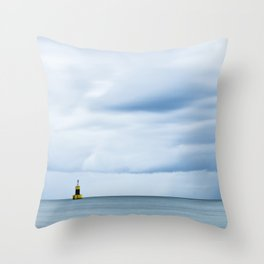 Sea, Lighthouse & Stormy clouds Throw Pillow